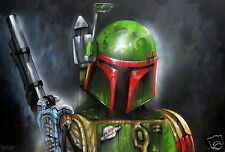 A0  Star wars paintings canvas street art urban print bounty hunter andy baker