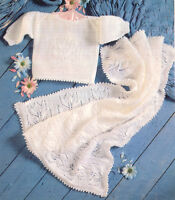 """Baby Tulip Blanket 29"""" x 28"""" & Sweater with Knitted Picot Edge 12"""" - 20"""" To Knit"""