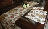 Paisley Quilted Cotton Table Runner and Placemats
