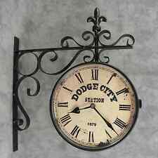 DODGE CITY TRAIN STATION Double Sided WALL CLOCK w/ FLEUR-DE-LIS WALL BRACKET