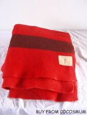Antique Vtg Wool 3 Point Blanket Uncut -Double Long Mackay Smith Blair Vancouver