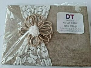 David Tutera Burlap & Lace Wedding Guest Book Special Event Rustic Country 60 Pg