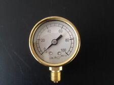 """1 5/8"""" steam brass pressure gauge reading 0-100 psi"""