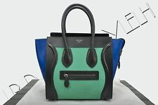 CELINE PARIS Authentic New Micro Luggage Tote Bag Green Blue Black Pony Calfskin