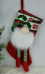 """Gnome Stocking Christmas Red Green 20"""" Knit Hat Striped Legs Bells NEW"""