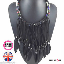 NEW BLACK FEATHER TASSELS STATEMENT CHOKER NECKLACE WOMENS STRING MULTILAYER UK