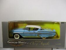 1/18 SCALE ERTL AMERICAN MUSCLE LIGHT BLUE 1958 CHEVY IMPALA