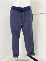 Athleta Women's Navy Blue Striped Bali Linen Ankle Pant Tie Size 2 NWT
