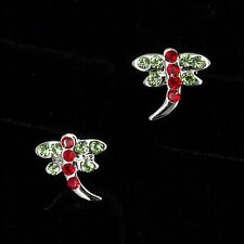 Cz Stud Stick Earrings Green Red Jewelry Dragonfly Shaped 18K W Gp Gold Plated