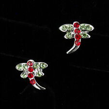 Dragonfly Shaped 18K W GP Gold Plated CZ Stud Stick Earrings Green Red Jewelry