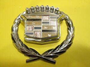CHROME Cadillac Trunk Lock Cover Crest 76 80 85 94 DeVille, Fleetwood