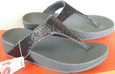 FitFlop Electra Micro T Post H20-054-050 Pewter Comfort Beach Sandals Women's 7