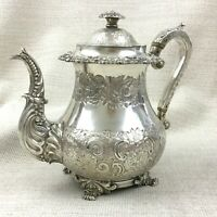 Antique Old Sheffield Silver Plate Teapot Ornate Heavy Chased Engraving RARE