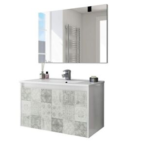 Mobile Bagno 80 cm sospeso effetto piastrelle lavabo ceramica specchio 305034BO