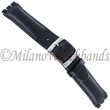 20mm Genuine Oiled Leather Padded Stitched Black  Mens Watch Band Fits Swatch