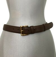 PRADA BROWN SAFFIANO LEATHER BELT WITH GOLD BUCKLE, S, $465