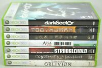 Xbox 360 7 Game Lot darkSector Too Human Deadspace Assassins Creed II Oblivion