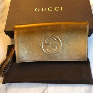 New Gucci Soho Metallic leather Gold Ombre Clutch Bag