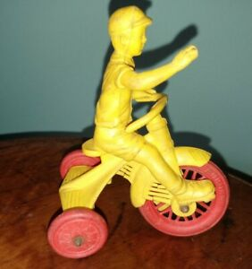 Vintage Auburn Rubber Co Toy Boy On Tricycle