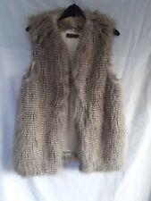 Mink Velvet Beige and Light Brown Striped Fake Fur Gillet Size 8