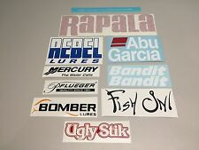 Fishing decals, 10 fishing stickers,  tackle box decal, lure fish on ugly stik