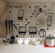 Cute Cartoon Milk Icecream Drink Food Decal for Happy Kitchen Fridge Sticker