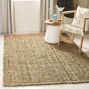 Jute Rug 100% Natural Braided Rectangle Floor Rugs Vintage Look Area Loop Carpet