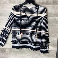 Lisa Todd women's beach gray tassel pullover long sleeve boho sweater size: xs