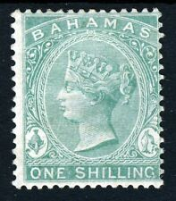 BAHAMAS Queen Victoria 1863 One Shilling Green Wmk Crown CC Perf 14 SG 39b MINT