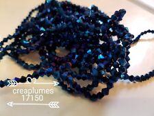 Chapelet de 120 perles en verre à facettes toupie electroplate 4x4.5mm bleu