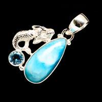 "Larimar, Blue Topaz Mermaid 925 Sterling Silver Pendant 1 1/2"" Jewelry P714988F"