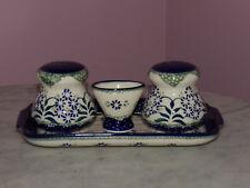 Genuine UNIKAT Polish Pottery Salt/Pepper/Toothpick/Tray Set! Cyndia Pattern!