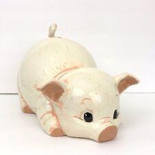 "Vintage Alberta's Mold 1988 Pig Piggy Bank White Pink 13"" Farmhouse Decor Kids"