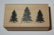 Evergreen Trees Rubber Stamp Landscape Border Forest Wood Mounted