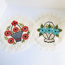 Lot Of 2 Tortilla Warmers Flowers Tortilla Pita Holders Colorful Doulble Lining