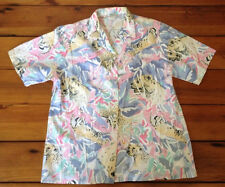 Vtg USA Leopard Funky Colorful Tropical Big Cats Womens Button Down Shirt L