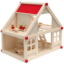 Puppenhaus Holz Puppenstube mit Puppenmöbel 4 Puppen Haus 11 Möbel 4 Zimmer NEU