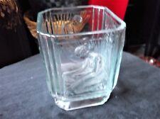 VINTAGE UV GREEN GLOW PALEST BLUE SQUARE HEAVY CHUNKY GLASS VASE DECO LADY