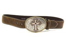 Nocona Buckle~Rhinestone Cross~Buck Stitched Leather Belt~Women's Small