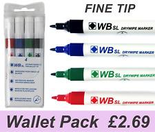 4 X Dry Wipe Pens Fine Tip Premium Slim Marker Pens White Board Assorted Pack
