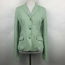 Theory Womens 4 Blazer Jacket Green White Striped Triple Button Unlined Coat