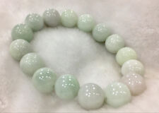 100% Natural 14Mm A Light green Emerald Jade Round Gem Bracelet Aaaa+