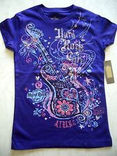 Hard Rock Cafe HRC Atene viola ragazza shirt Youth taglia M ca 134-140 Nuovo NWT