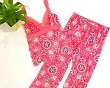 Ambrielle Pajamas / Women's Pj Set / Tank Top V-Neck / Capris / Floral Coral