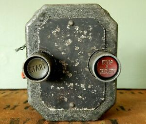 Vintage Industrial Electrical Component Switch Metal Stop Start On Off Shabby