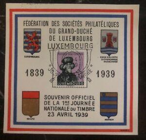 1939 Luxembourg Souvenir Postcard Cover FDC Philatelic Society Centenary Caritas