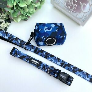 Blue Camouflage Dog Collar and Lead Set, Boy Cute Dog Collar and Leash, Puppy