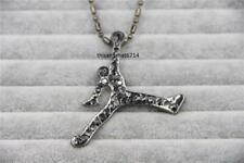 "Hip Hop Gunmetal CZ Air Jordan Necklace With 30"" Ball Chain"