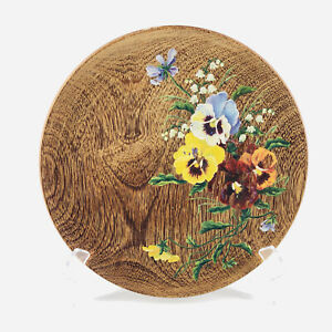 """Vtg Hand Painted Floral Pansy Folk Art Decorative Wood Plate Wall Decor 9.75"""""""