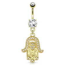 Gold Plated Surgical Steel Paved CZ Dangle Hamsa Belly Piercing Bar / Navel Ring